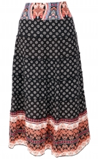 tiered skirt, comfortable boho summer skirt - black