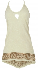 Boho longtop, top with great back - linen coloured
