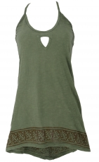 Boho longtop, top with great back - olive green