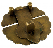 Door lock, door fitting in Chinese colonial style, brass