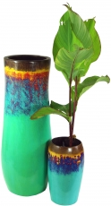 Vase, cachepot, planter made of palm wood