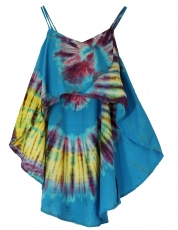Wide batik tunic hippie chic, beach tunic - blue