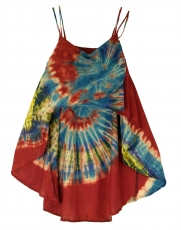 Wide batik tunic hippie chic, beach tunic - red