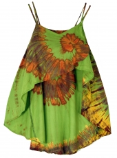 Wide batik tunic hippie chic, beach tunic - green