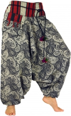 Wide harem pants with wide woven waistband and cord - Paisley/bla..
