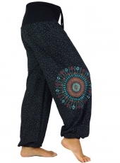 Wide harem pants with wide waistband and mandala embroidery - bla..