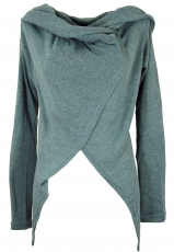 Wrap-around cardigan with wide shawl hood - pigeon blue