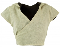 Changing top with hood, Boho hood top - beige