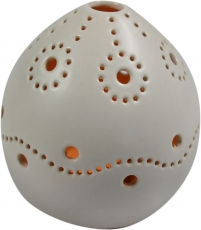 Lantern white, ceramic tealight holder