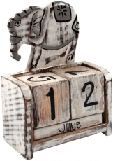 cube calendar - elephant white/grey