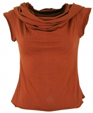 Yogatop, Psytrance Festival Top with shawl hood - rust-orange