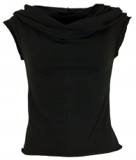 Yogatop, Psytrance Festival Top with scarf hood - black