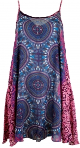 Boho Dashiki mini dress, strap dress, beach dress - lilac/fuchsia