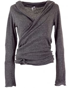 Wrap shirt, cotton knit pullover - granite grey