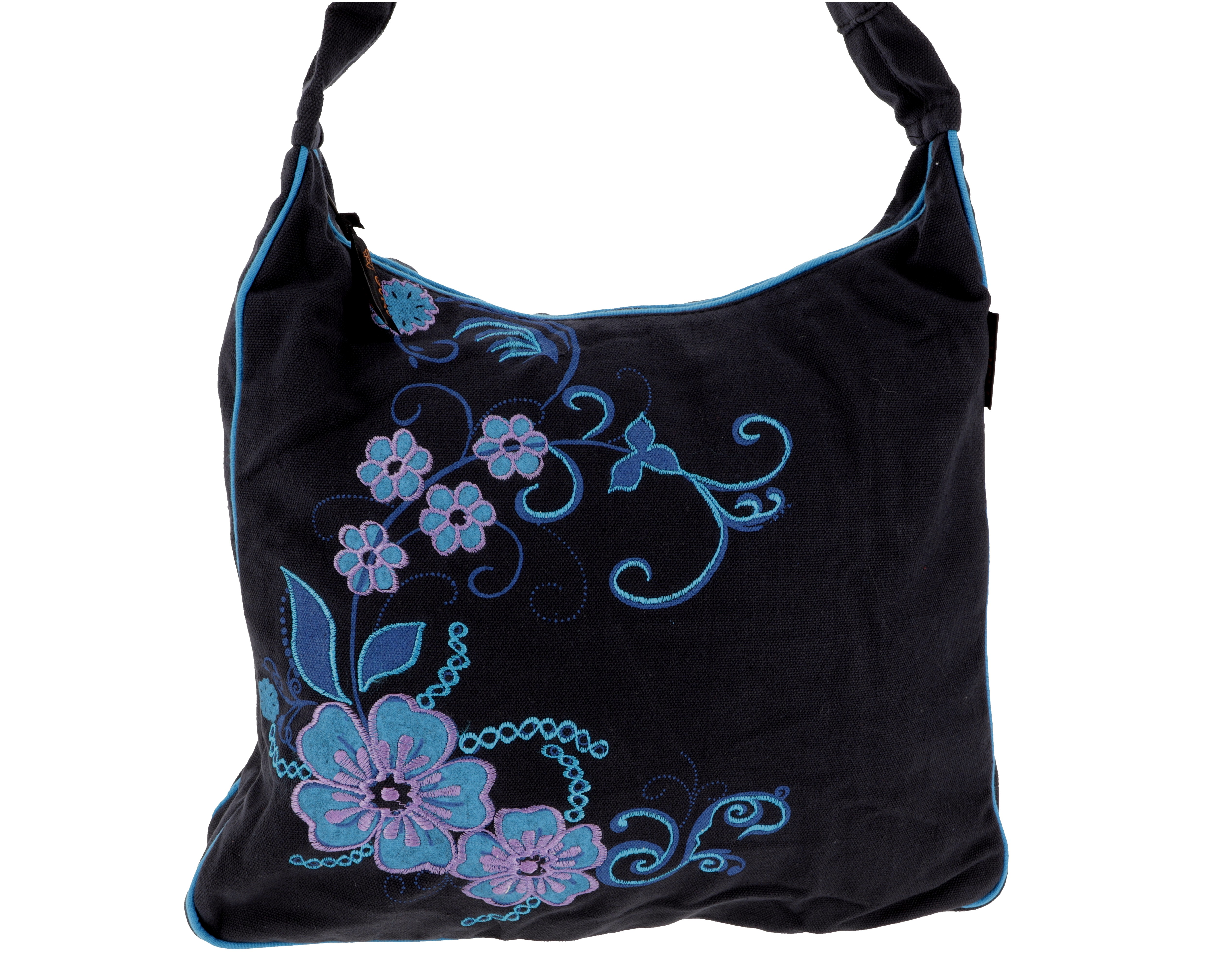Spacious shoulder bag, hippie bag, Goa bag blackturquoise