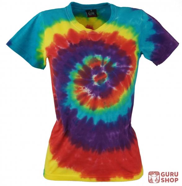 Batik T Shirt Für Damen Tie Dye Goa Shirt Regenbogen Blaurot