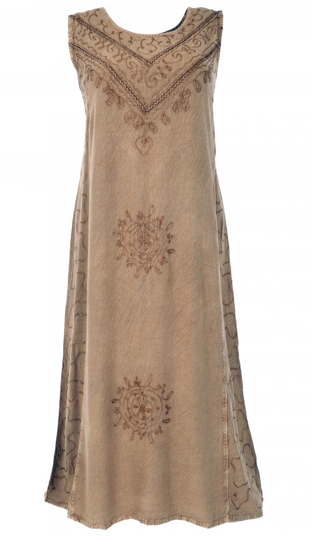 besticktes boho sommerkleid, indisches hippie kleid - taupe /design 4