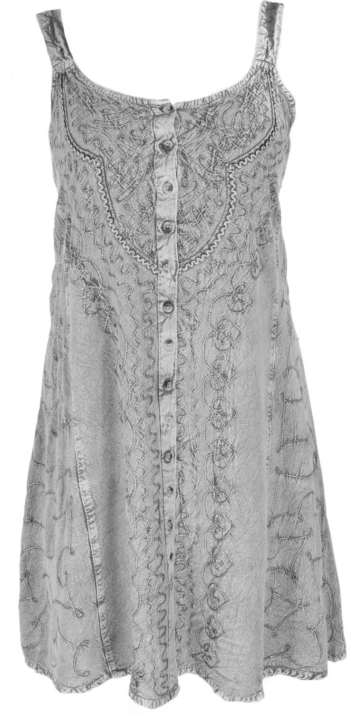 Embroidered indian boho dress, hippie chic mini dress   grey/Design 21
