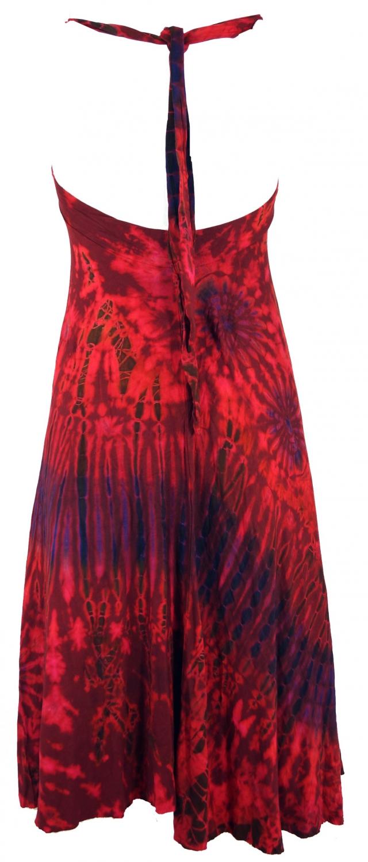 Ruckenfreies Batik Midikleid Neckholder Boho Pixi Kleid Rot