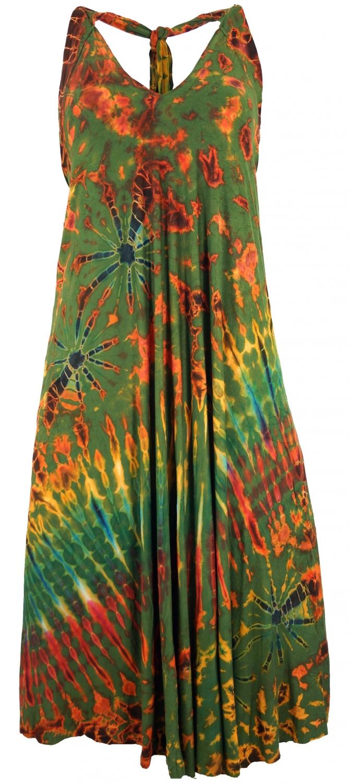 Ruckenfreies Batik Midikleid Batikkleid Neckholder Boho Kleid Olive