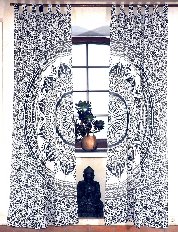 Vorhang Gardine 1 Paar Vorhänge Gardinen Mit Schlaufen Mandala Motiv Weißgrau 230x100x02 Cm